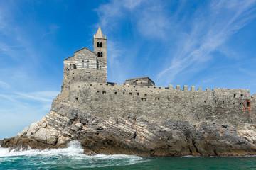 San Pietro Church view from the sea, Portovenere,  Italy