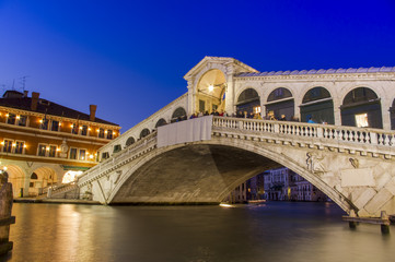 Venice at night. Rialto bridge