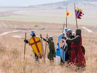 Reconstruction of Horns of Hattin battle in 1187. Warriors of the Crusaders are standing before the battle on the battlefield..