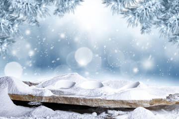 desk of free space and winter background