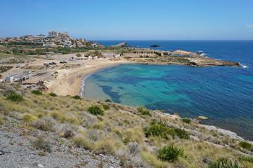 Sandy beach Cala Reona near the coastal town Cabo de Palos, Cartagena, Murcia, Spain, Mediterranean sea