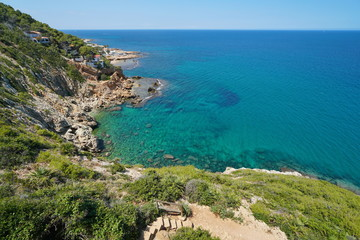 Coastal landscape near Les Rotes in Denia and partial view of the marine reserve del Cabo de San Antonio, Mediterranean sea, Alicante, Costa Blanca, Spain