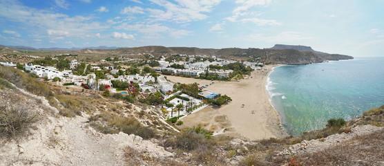 Seaside village Agua Amarga and its beach in the Cabo de Gata-Nijar natural park, Mediterranean sea, Almeria, Andalusia, Spain