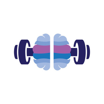 brain with barbell fitness logo icon vector