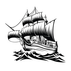 Fotorolgordijn Schip Illustration old ship with waves in style retro design