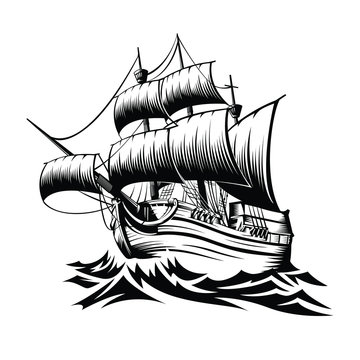 Illustration old ship with waves in style retro design