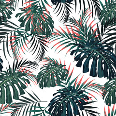 Vector seamless tropical pattern, vivid tropic foliage, with palm monstera leaves. Modern bright summer print design. White background. Vintage style.