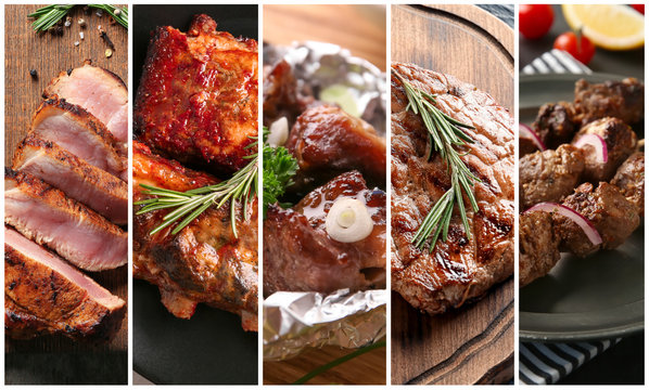 Set of tasty meat cooked on barbecue grill