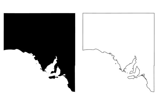 South Australia (Australian states and territories, SA) map vector illustration, scribble sketch South Australia map