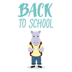 Cute hippopotamus character Back to school concept with lettering sign.