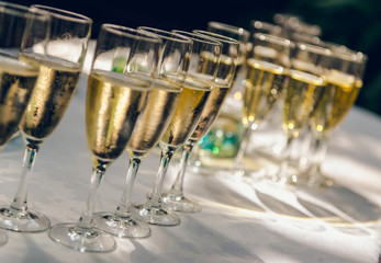 Glasses of champagne for a wedding reception