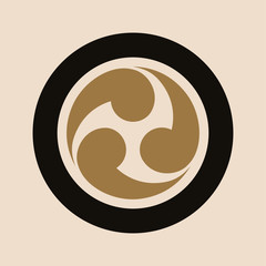 japanese style comma symbol in gold on ivory