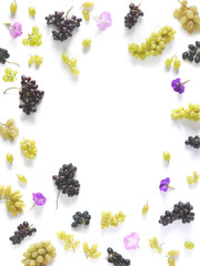 A frame made of black and green grapes isolated on a white background. The pattern of grapes of different varieties, top view, flat lay. Food background.
