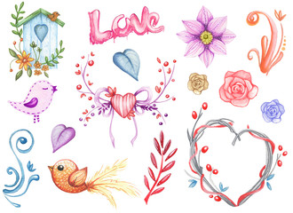 Watercolor cute wedding  decor element set. Hand drawn romantic illustration on  white background  isolated