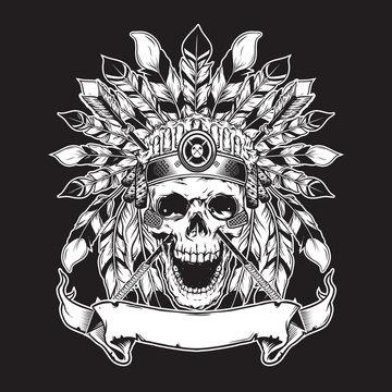skull illustration background for shirt design with black white concept