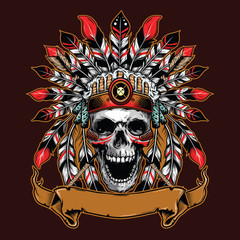 chief skull illustration background for shirt design