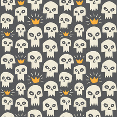 Doodle style white evil skulls seamless repeat pattern. Cute cartoon stylized sculls with sharp vampire teeth and shining crown. Halloween or Day of the Dead funny endless background or texture.