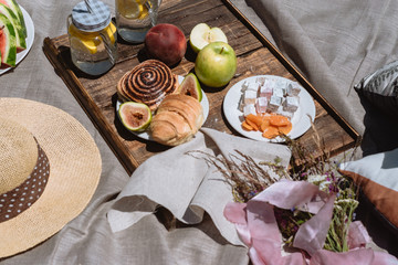 Fruit, lemonade and pastries served at a picnic against mountains with lake in Montenegro