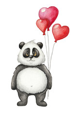 Cute watercolor panda with red balloon. Hand drawn Children's illustration on white background. Saint Valentine's Day cute card
