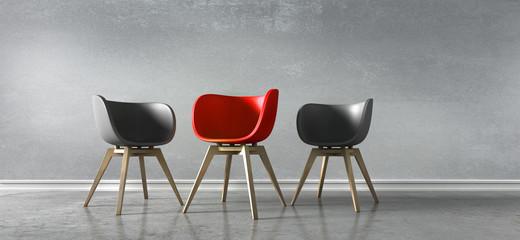 3 Stühle rot schwarz - Diskussion