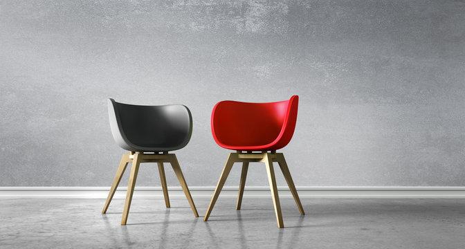 2 Stühle rot schwarz - Diskussion