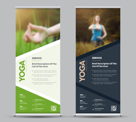 Template of universal vector roll-up banner with place for photo.