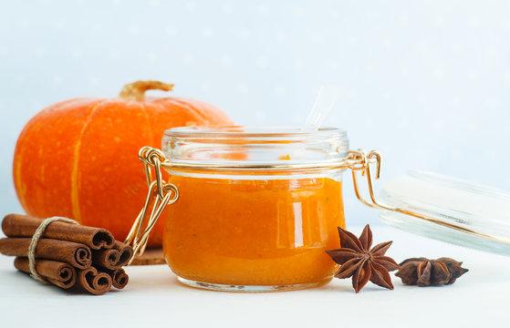 Homemade pumpkin spice puree/face mask. DIY cosmetics. Copy space.