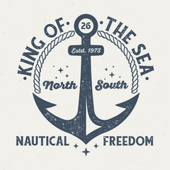 King Of The Sea - Vintage Tee Design For Printing