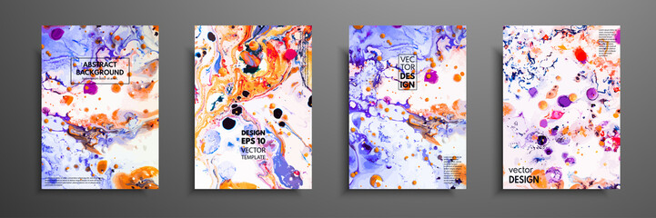 Creative trendy cards. Abstract painting templates with place for your text. Fluid art. Applicable for design covers, presentation, invitation, flyers, annual reports, posters and business cards.