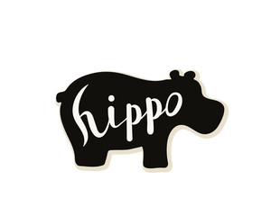Silhouette of a hippo on a white background. Vector illustration. Calligraphy inscription.
