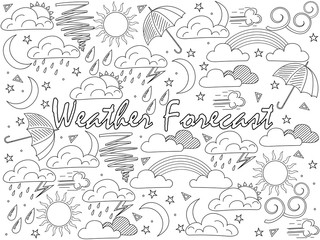 Objects of linear art on a white background. Weather forecast, news. Vector