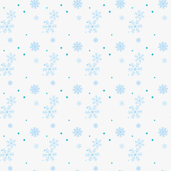 Abstract seamless pattern of falling blue snowflakes on white background. Winter pattern for banner, greeting, Christmas and New Year card, invitation, postcard, paper packaging. Vector illustration
