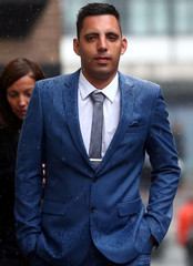 Ryan Ali, who is on trial alongside England cricket player Ben Stokes, arrives at Bristol Crown Court, in Bristol