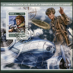 GUINEA - 2017: shows Amelia Mary Earhart (1897-1937), American aviation pioneer
