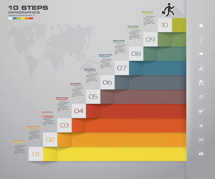10 steps staircase Infographic element for presentation. EPS 10.