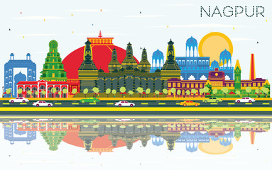 Nagpur India City Skyline with Color Buildings, Blue Sky and Reflections.