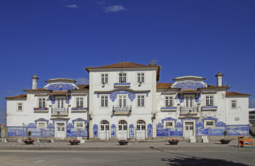 old railway station decorated with azulejo in Aveiro