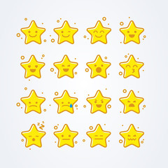vector illustration collection of difference emoticon icon of star cartoon