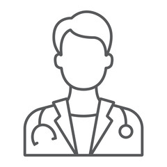 Doctor thin line icon, medicine and hospital, physician sign, vector graphics, a linear pattern on a white background, eps 10.