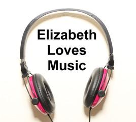 Elizabeth Loves Music Headphone Graphic Original Design
