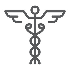 Caduceus line icon, medical and hospital, pharmacy sign, vector graphics, a linear pattern on a white background, eps 10.