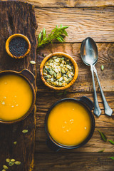 Pumpkin soup on table. Thankgsgiving table