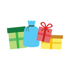 Colored christmas presents logo on white background cartoon
