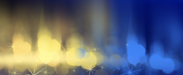 Abstract dark bokeh background, blue with yellow, festive cover background