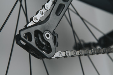 Detail of bicycle rear derailleur shifting arm with silver chain.