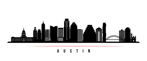 Austin city skyline horizontal banner. Black and white silhouette of Austin city, USA. Vector template for your design. Fotomurales