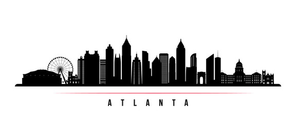 Atlanta city skyline horizontal banner. Black and white silhouette of Atlanta city, USA. Vector template for your design. Wall mural