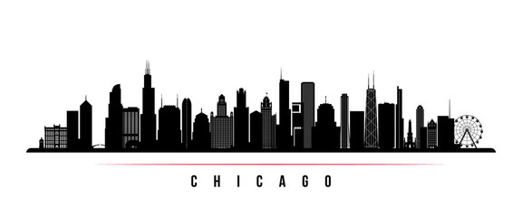 Chicago city skyline horizontal banner. Black and white silhouette of Chicago city, USA. Vector template for your design. Wall mural