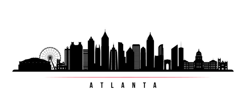 Atlanta city skyline horizontal banner. Black and white silhouette of Atlanta city, USA. Vector template for your design.