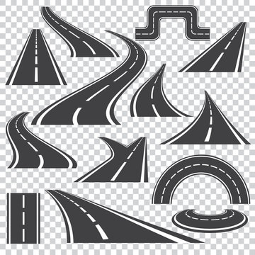 Asphalt logo set  with  isolated curvy  roads  and fork turns .Different perspective  on a transparent background. Vector way illustration icons.